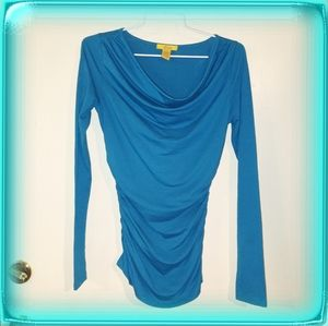 Finesse Turquoise tee long sleeve ruching Small